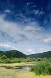 Paesaggio di estate con il cielo ed il lago drammatici fotografie stock libere da diritti