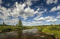 Paesaggio di estate con il fiume e le nuvole fotografia stock libera da diritti