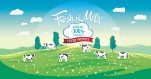 Paesaggio di estate con il gregge delle mucche illustrazione vettoriale