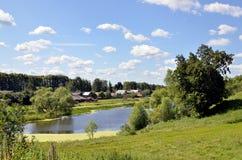 Paesaggio di estate con il lago in Russia Fotografie Stock