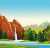 Paesaggio di estate con la cascata Fotografia Stock