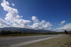 Paesaggio di estate con la strada, gli alberi ed il cielo blu vuoti Strada rurale, campo di mais, legno e cielo blu nuvoloso fotografia stock