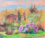 Paesaggio di estate con lo stagno royalty illustrazione gratis