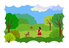Paesaggio di estate con una ragazza, un cane e una palla illustrazione vettoriale