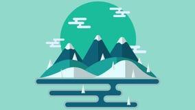 Paesaggio di ESTATE Concetto per l'insegna di web ed i materiali stampati Illustrazione piana di vettore Fotografie Stock
