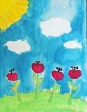 Paesaggio di estate del disegno del bambino con i fiori rossi Immagine Stock