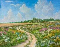 Paesaggio di estate e strada campestre su tela disegnata a mano Giacimento sbocciante della molla Giorno soleggiato, cielo blu co immagine stock libera da diritti