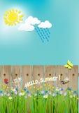 Paesaggio di estate, fiori, sole, ape, coccinella, farfalla Ciao estate Illustrazione di vettore Immagine Stock