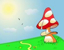 Paesaggio di estate. Fungo sul campo verde royalty illustrazione gratis