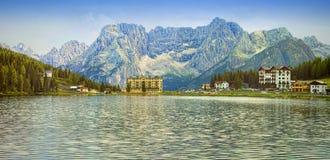 Paesaggio di estate nel lago Misurina Fotografia Stock
