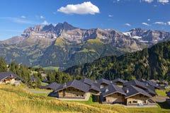 Paesaggio di estate nelle alpi svizzere Immagine Stock