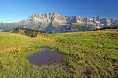 Paesaggio di estate nelle alpi svizzere Fotografie Stock Libere da Diritti