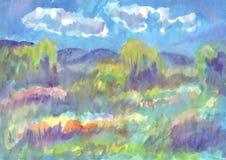 Paesaggio di estate, prato di fioritura il giorno di estate royalty illustrazione gratis
