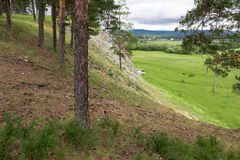 Paesaggio di estate sul fiume negli urali Fotografia Stock Libera da Diritti