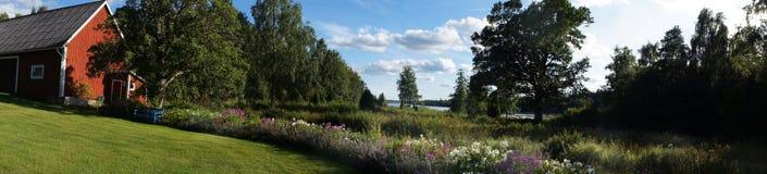 Paesaggio di estate in Svezia Fotografie Stock Libere da Diritti