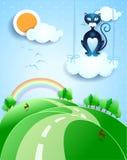Paesaggio di fantasia con il gatto nero sopra la nuvola Fotografia Stock