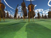 Paesaggio di fantasia con il violoncello Fotografia Stock Libera da Diritti