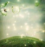Paesaggio di fantasia con la piccola lumaca Fotografia Stock
