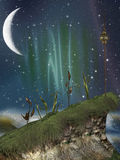 Paesaggio di fantasia nel nigth illustrazione di stock