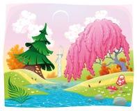 Paesaggio di fantasia sulla riva del fiume. Immagine Stock
