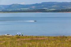 Paesaggio di festa dei pescherecci della diga Fotografie Stock Libere da Diritti