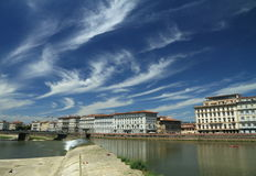 paesaggio di Firenze con il fiume del Arno Fotografia Stock