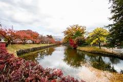 Paesaggio di fogliame variopinto alla riva del lago in autunno immagine stock libera da diritti