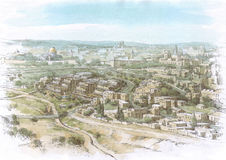 Paesaggio di Gerusalemme Fotografie Stock