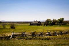 Paesaggio di Gettysburg con la casa dell'azienda agricola fotografia stock libera da diritti