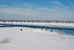 paesaggio di Ghiaccio-pesca Fotografie Stock