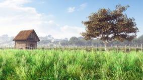 Paesaggio di giorno del cottage Fotografia Stock