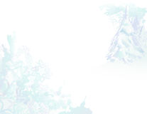 Paesaggio di Grunge dell'acquerello dello Snowy Fotografia Stock