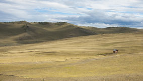 Paesaggio di Hilly Steppe, cielo blu con le nuvole in siberiano Immagini Stock