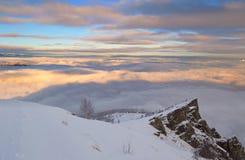 Paesaggio di inverno al tramonto Immagini Stock Libere da Diritti