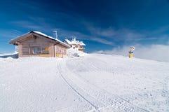 Paesaggio di inverno alla cima della montagna Paganella Trentino Fotografia Stock Libera da Diritti