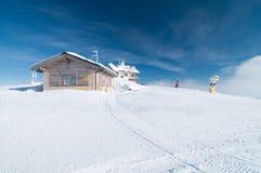 Paesaggio di inverno alla cima della montagna Paganella Trentino Fotografia Stock