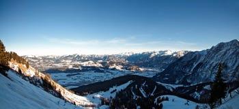 Paesaggio di inverno alla strada di panorama di Rossfeld. Immagine Stock Libera da Diritti