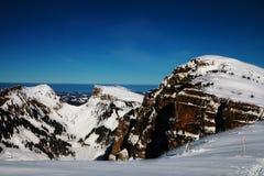 Paesaggio di inverno alla Svizzera Immagini Stock