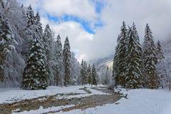 Paesaggio di inverno in alpi francesi Immagine Stock Libera da Diritti