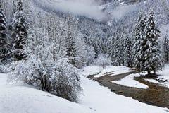 Paesaggio di inverno in alpi francesi Fotografia Stock Libera da Diritti