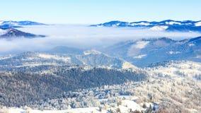 Paesaggio di inverno Annebbi spostarsi per la montagna nell'inverno con un cielo blu archivi video