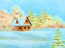 Paesaggio di inverno, Camera rustica Fotografia Stock Libera da Diritti