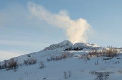 Paesaggio di inverno, cielo blu, colline Immagine Stock Libera da Diritti
