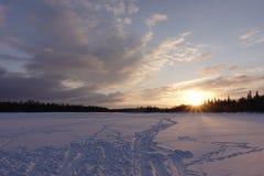 Paesaggio di inverno con alba Fotografia Stock