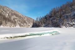 Paesaggio di inverno con banchisa nella priorità alta, Yakutia del sud Fotografia Stock Libera da Diritti