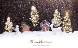 Paesaggio di inverno con i cervi Fotografie Stock