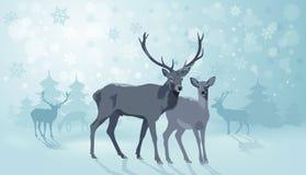 Paesaggio di inverno con i deers Fotografie Stock