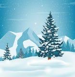 Paesaggio di inverno con i pini e le montagne nevosi Backrground di festa Vettore immagini stock