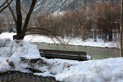 Paesaggio di inverno con il banco sulla costa del fiume in alpi in Austria Immagine Stock Libera da Diritti