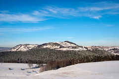 Paesaggio di inverno con il castello immagine stock